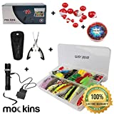 Mockins All-in-One Fishing Gear Set | 154 Pieces Includes Fishing Lures, Flashlight, 120g Sinker Kit, Fishing Pliers, Tackle Box and Floaters | Camping Accessories