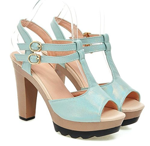 Easemax Womens Double Ankle Buckle T-Straps Peep Toe Platform High Chunky Heel Sandals Blue OLdaMY3