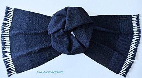 Men's Cashmere Silk Merino Wool Blue Handwoven Scarf by Eva Alenchenkova