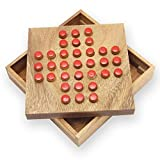 BRAIN GAMES Peg Solitaire Game, Small 4.3 Inches