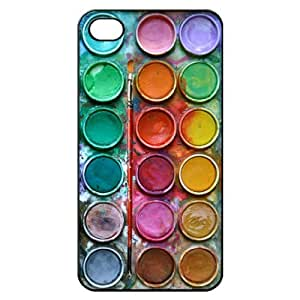 Water Color Paint Set Hard Back Shell Case Cover Skin for Iphone 4 4g 4s Cases - Black/white/clear