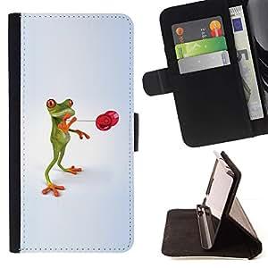 For HTC Desire 626 626w 626d 626g 626G dual sim Case , d divertida lyagushka rana- la tarjeta de Crédito Slots PU Funda de cuero Monedero caso cubierta de piel