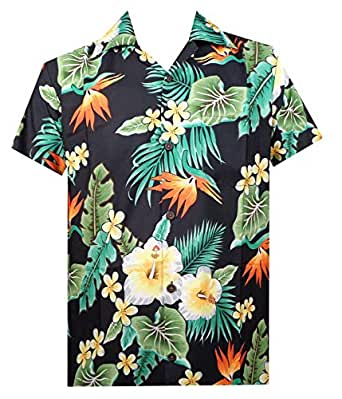 Alvish Hawaiian Shirt 46 Mens Flower Leaf Beach Aloha Party Camp Holiday Black S