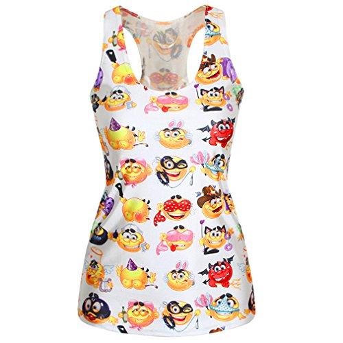 SAYM Women 3D Emoji Digital Printed Sleeveless Vest Tank Top Multicolor