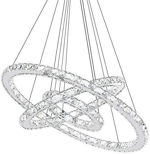 Lampara de techo LED de 72 W, diseno de cristal con tres anillas, moderna lampara colgante de LED para comedor, sala de estar, dormitorio, escalera de hall/hotel/tienda de ropa