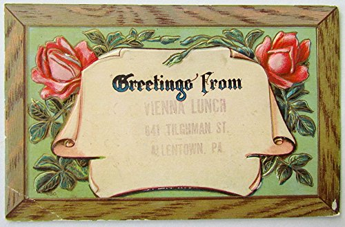 (ANTIQUE 1930s POSTCARD GREETINGS FROM VIENNA LUNCH TILGHMAN STREET ALLENTOWN PA)