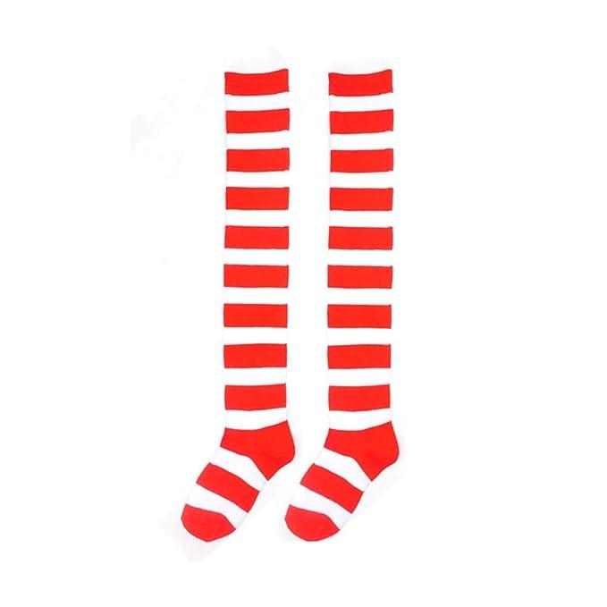 DOGZI Mujer Raya Invierno Moda Sobre la rodilla calcetines ...
