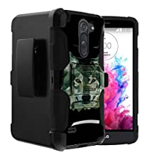 LG G3 Stylus Case | G3 Stylus D690 Case [Heavy Duty Clip] Dual Layer Hard Case with Kickstand and Holster Clip by Untouchble - Green Wolf