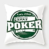 iPrint Cotton Linen Throw Pillow Cushion Cover,Poker Tournament Decorations,Lets Play Poker Stamp Royal Flush Grunge Vintage Full House,Green White,Decorative Square Accent Pillow Case