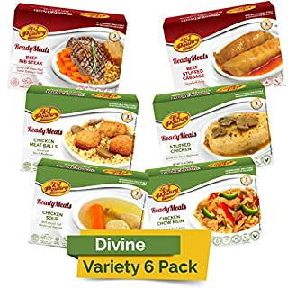 Kosher MRE Meat Meals Ready to Eat (6 Pack Divine Variety - Beef & Chicken) - Prepared Entree Fully Cooked, Shelf Stable Microwave Dinner – Travel, Military, Camping, Emergency Survival Protein Food