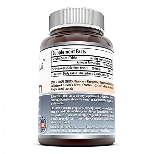 Amazing NutritionSelenium *200mcgNatural Selenium Yeast * 240 Tablets PerBottle *Promotes Cell Health, Immune Function, Cardiovascular Health and Healthy Thyroid Function and more..