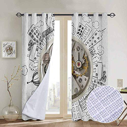 NUOMANAN Window Blackout Curtains Clock,an Alarm Clock with Clouds and Buildings Around It in Vintage Style Pattern Design,Pale Grey,for Room Darkening Panels for Living Room, Bedroom 54