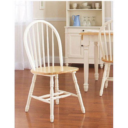 - Better Homes and Gardens Autumn Lane Windsor Chairs, Set of 2, White and Natural