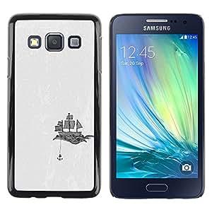 TopCaseStore / la caja del caucho duro de la cubierta de protección de la piel - Ship Anchor Art Sails Drawing Black White - Samsung Galaxy A3 SM-A300