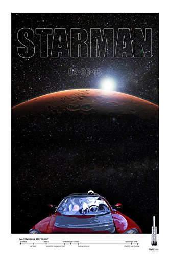Spacex Falcon Heavy Rocket Launch Tesla Roadster   Starman Go To Mars   Commemorative Poster 1 3   Giclee Print   Premium Paper 200 Year Archival Inks   Wall Art 24  X 36    Ready To Frame