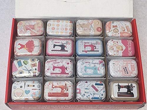 (32PCS Ocean Sewing Machine Mini Tin Box-Mini Tin Box with Lid-Mini Tin Box with Hinged Lid-Boxes Jewelry Cardboard-Storage Boxes with Lids-Headphones Gift Box-Gift Box for Jewelry (Sewing Machine))