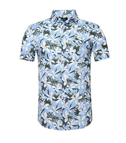 NUTEXROL Hawaiian Shirts Mens Bamboo Print Beach Aloha Party Holiday print6 2XL