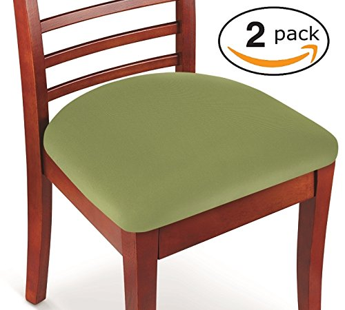 Hoovy Seat Covers Pack of 2 Protective & Stretchable – for Round & Square Chairs (Green)