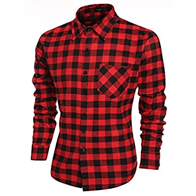 Acecor Men Casual Stand Collar 3/4 Sleeve Plaid Button Split Hem Sleepwear Shirt Dress S-3XL