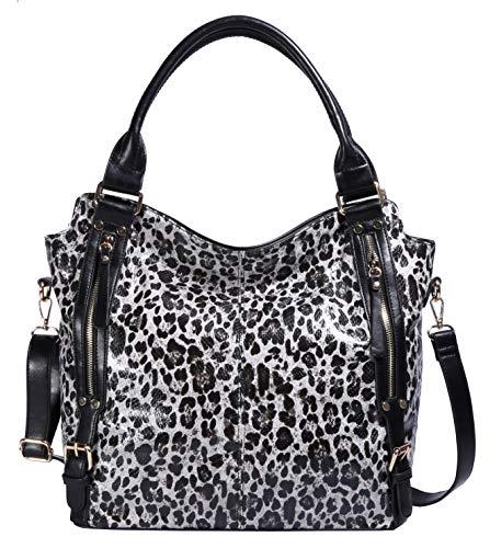 ZOCAI Hobo Shoulder Bag for Women Fashion Tote Top Handle Handbag Faux Leather Two-Tone Python or Leopard Embossed Handbag - Leather Python Tote