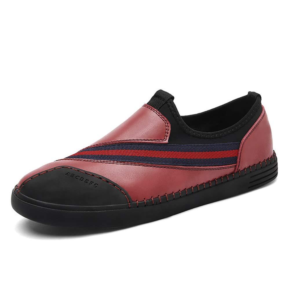 FHTD Herren Leder Slipper Slip On Comfort Driving Schuhe Klettverschluss Beiläufige Mokassins Stiefelschuhe