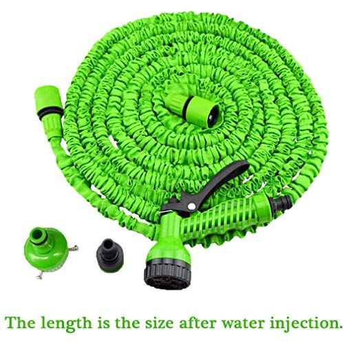 CUUYQ Garden Hose, with Nozzle Latex Core Water Hose No More Leaks Not Kink Expandable Garden Hose for Outdoor Lawn Car Watering Plants,Green_200FT ()