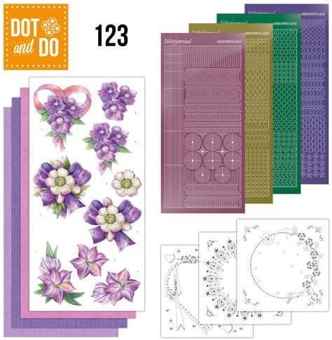 123 Card Kit Purple Flowers Stickers Hobbydots Dot and Do Nr 3D Image /& Layered Cards