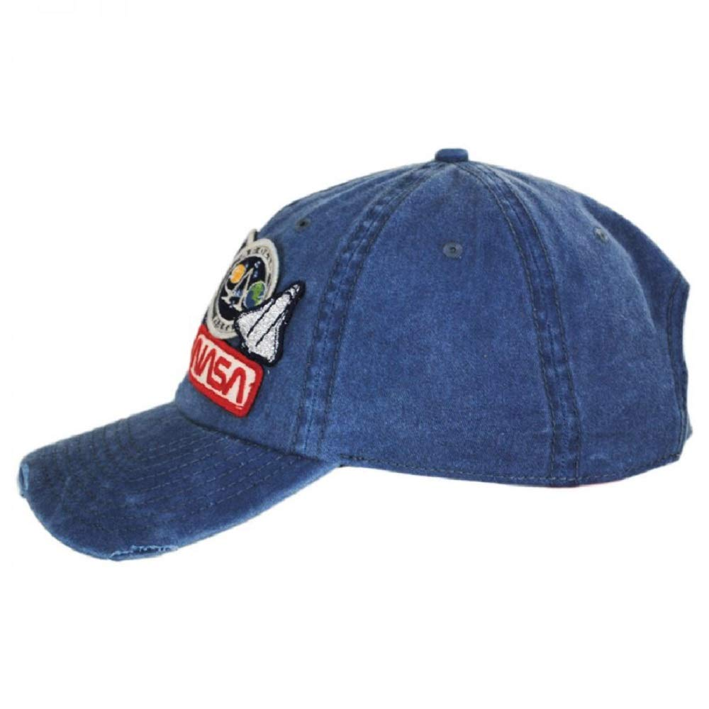 American Needle Iconic Patch Distressed Dad Hat NASA 43910A-NASA Navy