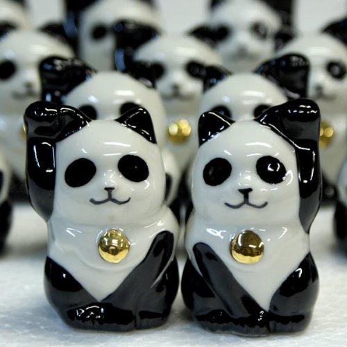 Japanese pair Maneki Neko Lucky Panda cats Kutani ceramic