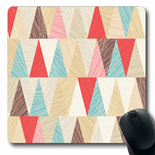 Coffee Harlequin - Ahawoso Mousepad Oblong 7.9x9.8 Inches Red Blue Vintage Geometric Pattern Abstract Retro Coffee Harlequin Triangle Geometry Scratched Mouse Pad Non-Slip Rubber for Notebook Laptop PC Computer
