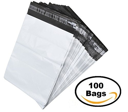100 White Poly Mailer Shipping Bag Envelopes Self Adhesive Mailing Envelopes. Flexible Secure Packaging for Shipping Supplies, Water Proof, Tear Resistant 100 Pack Postal Bags Sale 10x13in