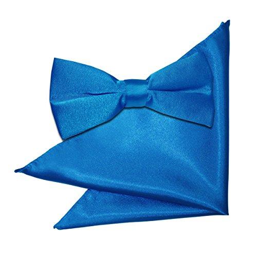 Bow DQT Men and Blue Electric Satin Square Pocket Tie IUIqF