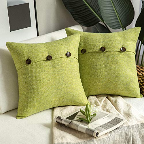 Phantoscope Farmhouse Throw Pillow Covers Triple Button Vintage Linen Decorative Pillow Cases for Couch Bed and Chair Yellow Green, 18 x 18 inches 45 x 45 cm, Pack of 2 (Yellow And Green Cushions)