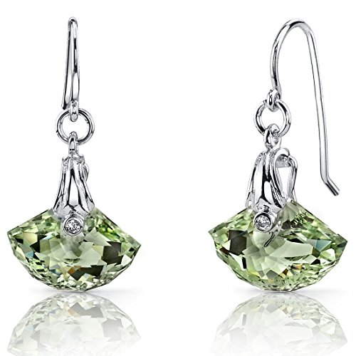 (Spectacular Shell Cut 9.00 carats Green Amethyst Fishhook Earrings Sterling Silver)