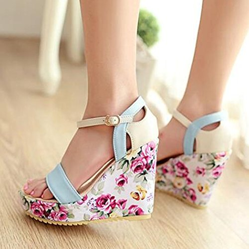Platform Ankle Easemax Wedge Womens Buckle Suede Blue Heel Sweet Toe Flower Strap Open Faux Sandals High Stitching OPYWSPArwq