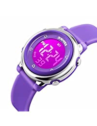 Gosasa Kids LED Digital Electrical Luminescent Silicone Outdoor Sport Waterproof Alarm Children Dress Wrist Watch with Stopwatch for Boys Girls - Purple