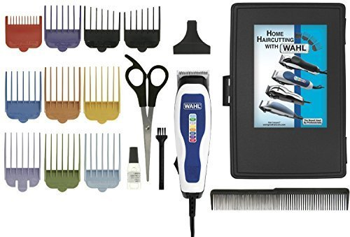 Wahl Men's Clippers Complete 17-Piece Barbers Kit, with Color Coded Attachment Combs and Self Sharpening Blades, Scissors, Comb and Hard Case Included by WAHL
