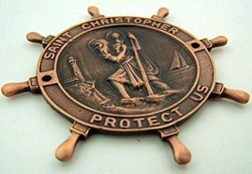 Checkout Copper Tone Saint Christopher Steering Wheel Boat Medal, 2 7/8 Inch wholesale