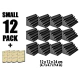 Arrowzoom New 12 Pack of 4.7 in X 4.7 in X 9.4 in Black Soundproofing Insulation Bass Trap Acoustic Wall Foam Padding Studio Foam Tiles AZ1133 (BLACK)