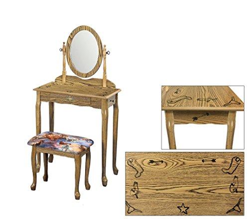 Light Oak Finish Queen Anne Vanity Table