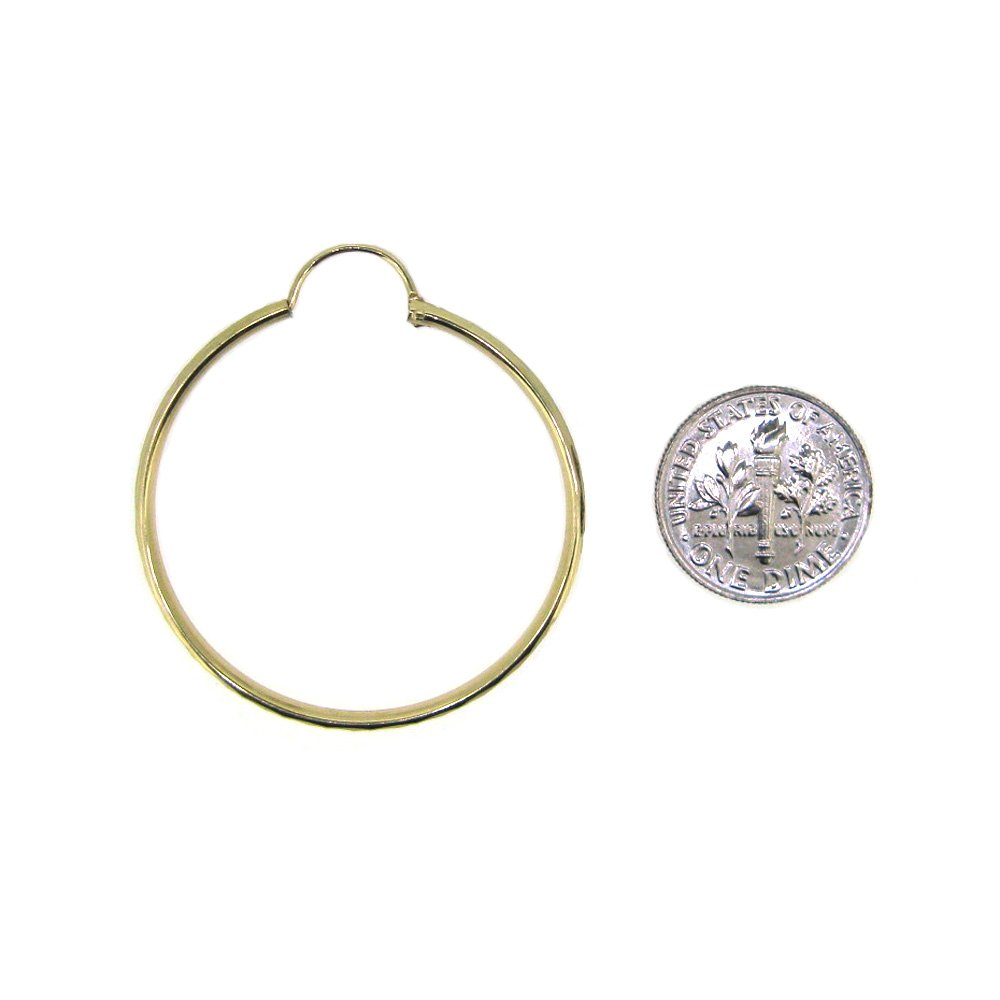 Solid 14k Gold Round Textured Hollow Hoop Earrings