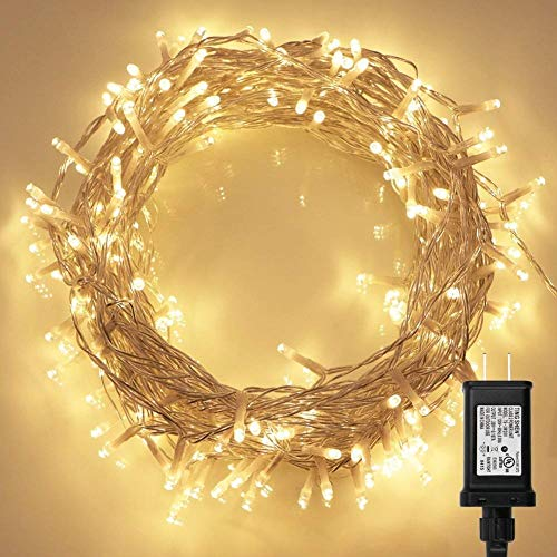 200 LED Indoor String Light with Remote and Timer on 69ft Clear String (8 Modes, Dimmable, Low Voltage Plug, Warm White)]()
