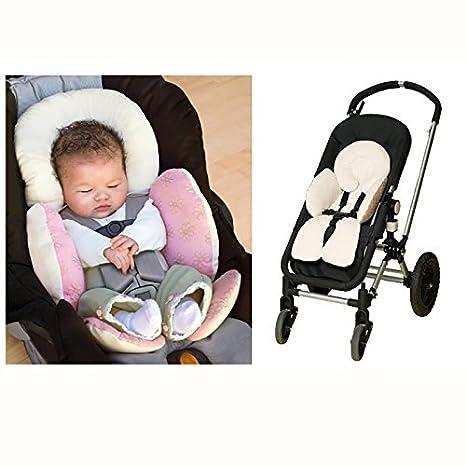 OPEN BUY Cojin Reductor para Cochecito de Bebe carritos y Asientos Color Rosa Reversible Acolchado con Soporte para la Cabeza