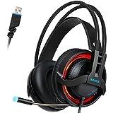 SADES R2 Gaming Headset Digitali Cuffie surround a 7.1 canali audio USB stereo per PC con luce di controllo ad alta sensibilità del microfono Volume LED (nero)
