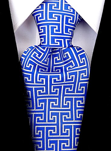Scott Allan Mens Geometric Greek Key Necktie - Blue/Silver Mens Greek Key