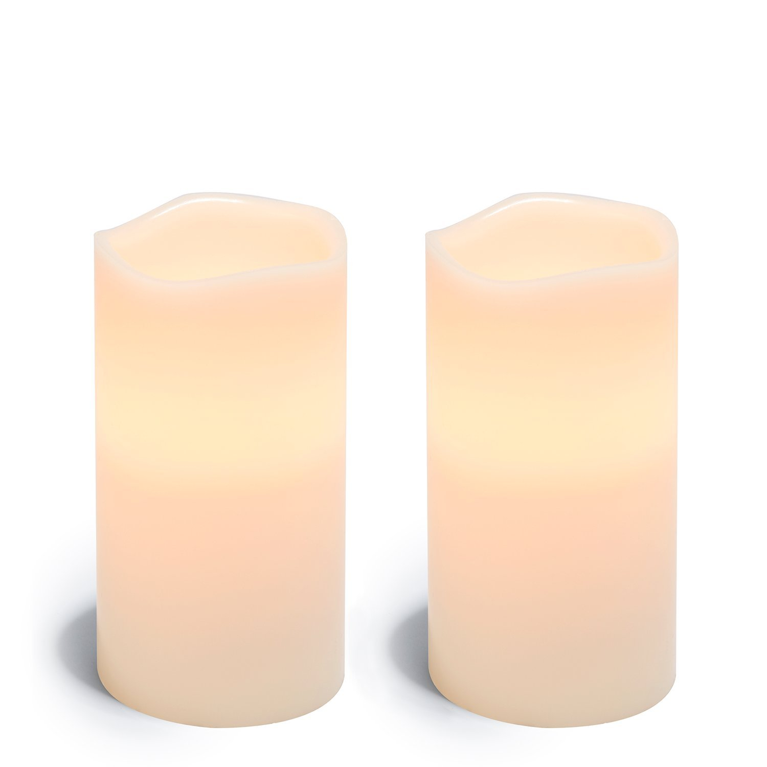 Large Flameless Pillar Candles, Set of 2, White Wax Candle with Melted Edge, 4 x 8 Inches, Warm White LED - Batteries Included by LampLust