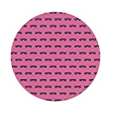 iPrint Polyester Round Tablecloth,Pink,Retro Vintage House Club Party 70s 80s Inspired Fancy Singer Sun Glasses Image,Pink and Black,Dining Room Kitchen Picnic Table Cloth Cover,for Outdoor Indoor