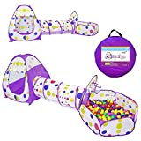 Yoobe Kids Play Tent Crawl Tunnel and Ball Pit with Basketball Hoop Playhouse for Toddlers Child (Purple)