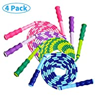 ATROPOS 4 Pack Soft Beaded Jump Rope Adjustable Tangle-Free Skipping Rope for Outdoor and Indoor Sports for Man,Women and Kids