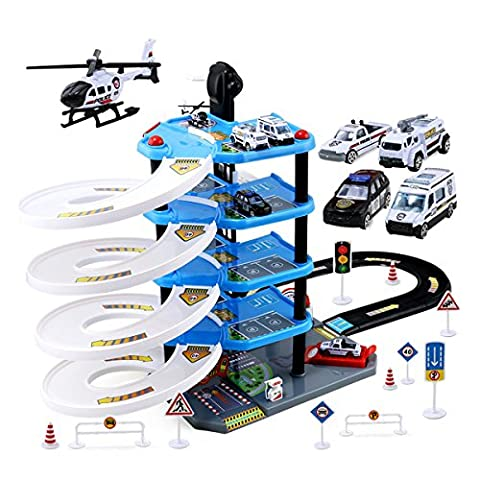 Razou Hot Wheels Track 5-Level Ultimate Raceway Police Station Parking Garage Playset with Elevator Lift & 4 Alloy Diecast Model Cars & 1 Airplane Toy for - Toy Parking Garage Elevator